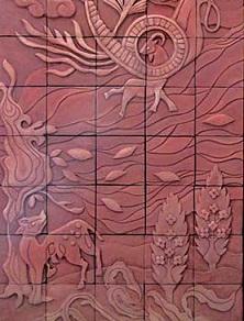انتقال طرح کشیده شده روی تابلو سفال