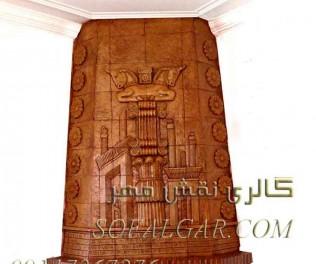 طرح تابلو سفال بالای شومینه